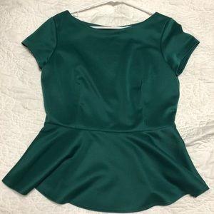 Bison Bisou Emerald Green Peplum Top